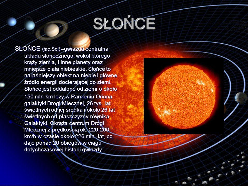 SŁOŃCE SŁOŃCE (łac.Sol) – gwiazda centralna układu słonecznego, wokół którego krąży ziemia, i inne planety oraz mniejsze ciała niebieskie. Słońce to n