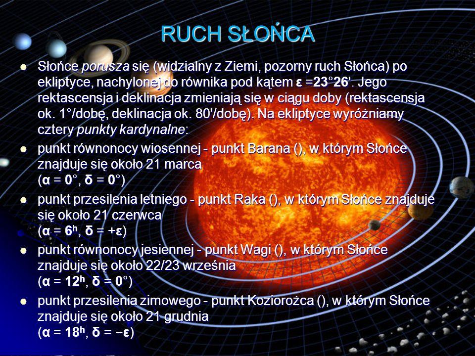 RUCH SŁOŃCA Słońce porusza się (widzialny z Ziemi, pozorny ruch Słońca) po ekliptyce, nachylonej do równika pod kątem ε =23°26'. Jego rektascensja i d