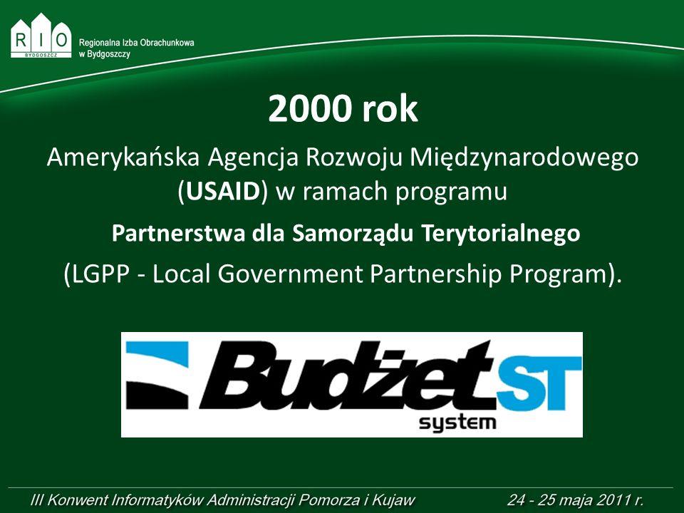 2000 rok Amerykańska Agencja Rozwoju Międzynarodowego (USAID) w ramach programu Partnerstwa dla Samorządu Terytorialnego (LGPP - Local Government Part