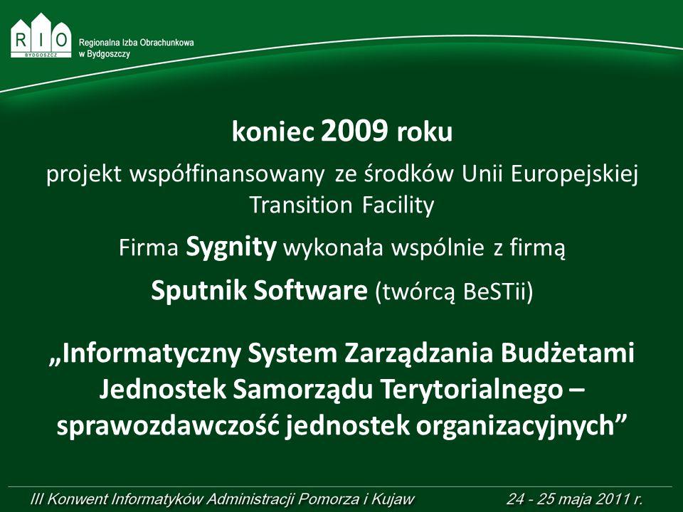 koniec 2009 roku projekt współfinansowany ze środków Unii Europejskiej Transition Facility Firma Sygnity wykonała wspólnie z firmą Sputnik Software (t