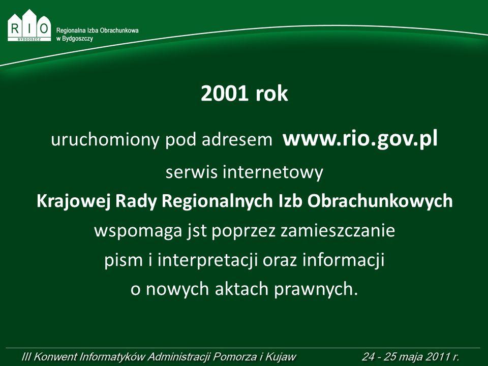 2001 rok uruchomiony pod adresem www.rio.gov.pl serwis internetowy Krajowej Rady Regionalnych Izb Obrachunkowych wspomaga jst poprzez zamieszczanie pi