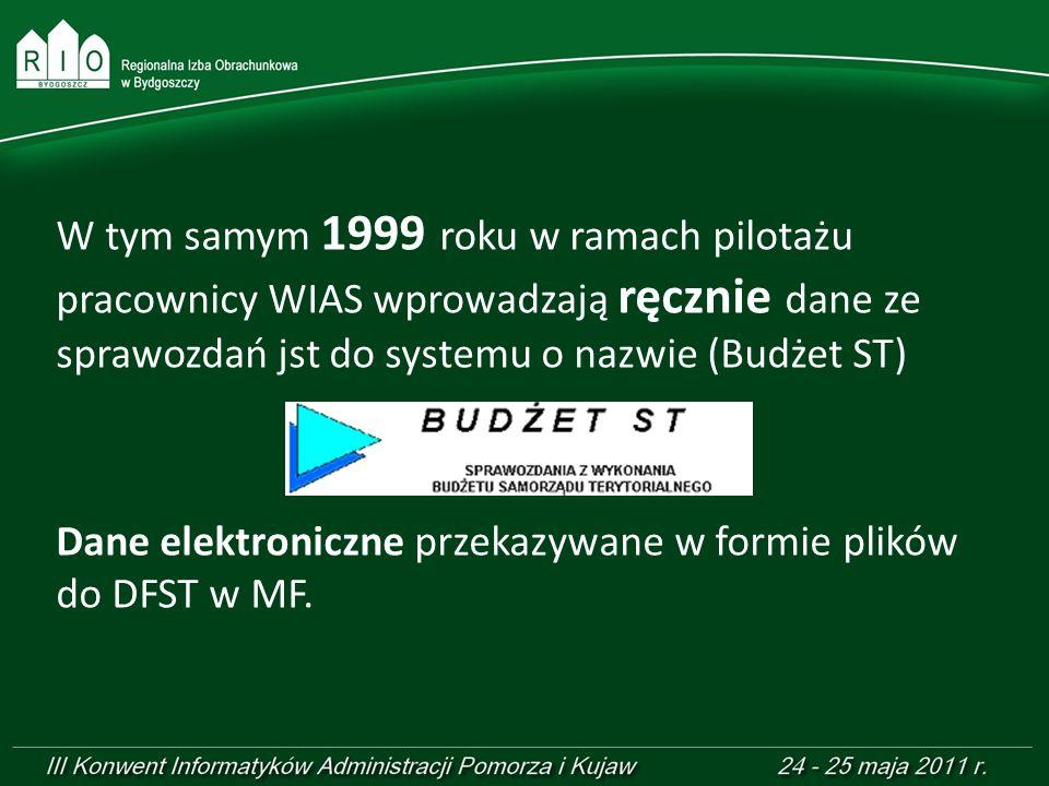 W tym samym 1999 roku w ramach pilotażu pracownicy WIAS wprowadzają ręcznie dane ze sprawozdań jst do systemu o nazwie (Budżet ST) Dane elektroniczne