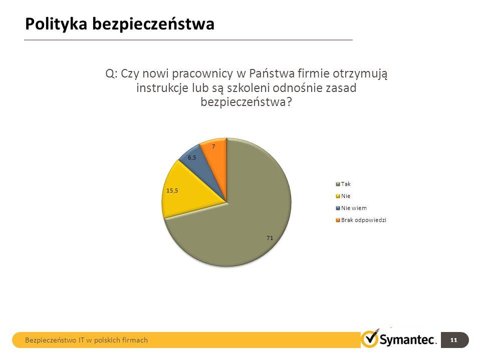 Polityka bezpieczeństwa 11 Bezpieczeństwo IT w polskich firmach Q: Czy nowi pracownicy w Państwa firmie otrzymują instrukcje lub są szkoleni odnośnie