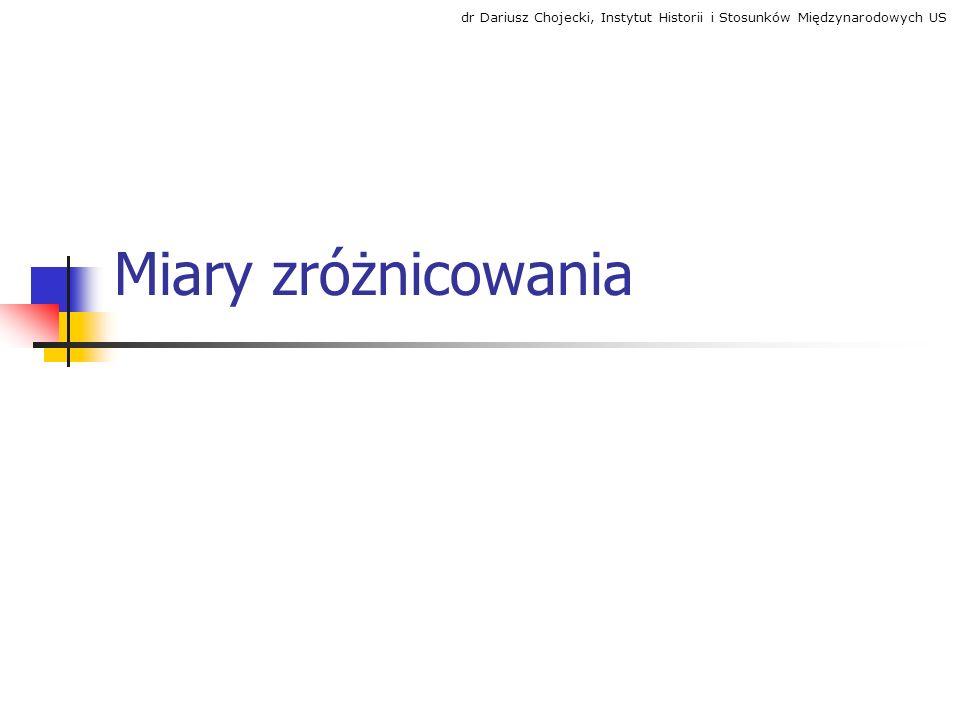 Miary zróżnicowania dr Dariusz Chojecki, Instytut Historii i Stosunków Międzynarodowych US