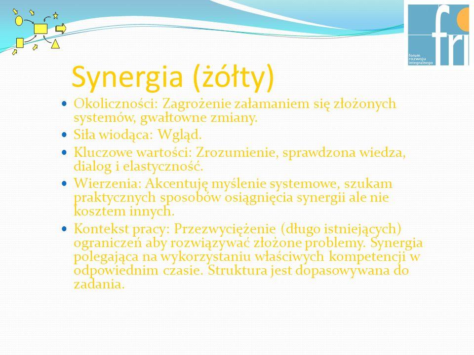 Synergia (żółty) Okoliczności: Zagrożenie załamaniem się złożonych systemów, gwałtowne zmiany. Siła wiodąca: Wgląd. Kluczowe wartości: Zrozumienie, sp