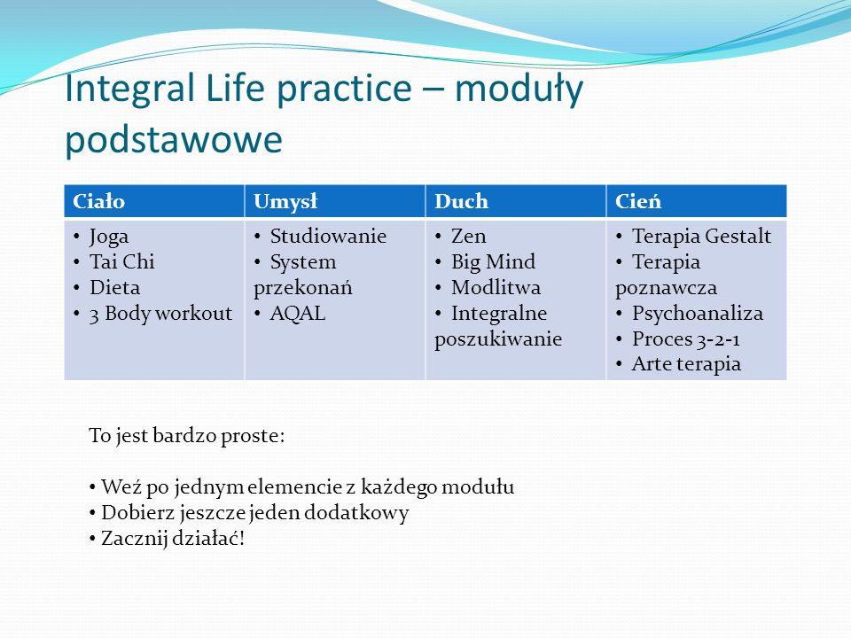 Integral Life practice – moduły podstawowe CiałoUmysłDuchCień Joga Tai Chi Dieta 3 Body workout Studiowanie System przekonań AQAL Zen Big Mind Modlitw