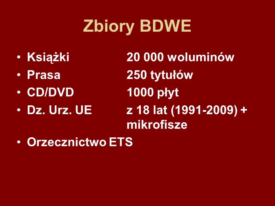 Zbiory BDWE Książki20 000 woluminów Prasa250 tytułów CD/DVD1000 płyt Dz.