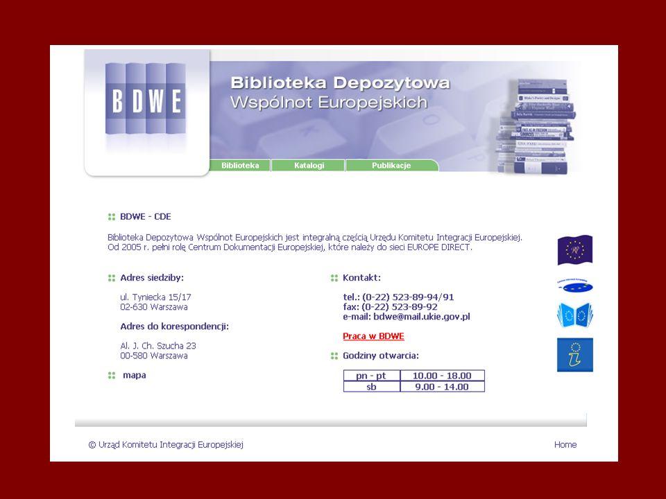 Cyfryzacja informacji w BDWE BAZY DANYCH Katalog książek Bazy zawartości czasopism Baza tytułów czasopism Baza publikacji elektronicznych Baza płyt CD i DVD Monitory UKIE Materiały konferencyjne