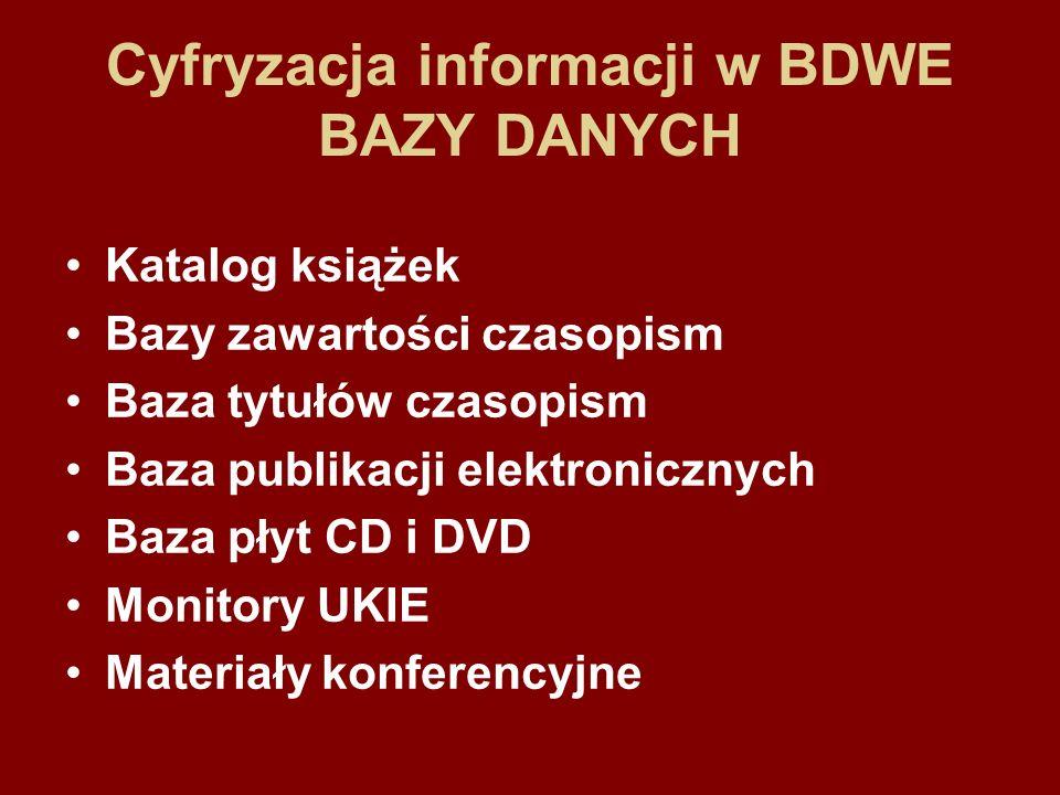 Cyfryzacja informacji w BDWE DIGITALIZACJA Katalog – 17300 opisów – 2500 *.pdf Prasa –ogólnopolska – 47200 opisów – 47200 *.pdf –specjalistyczna – 24200 opisów – 17200 *.pdf Publikacje elektroniczne – 390 opisów – 390 *.pdf