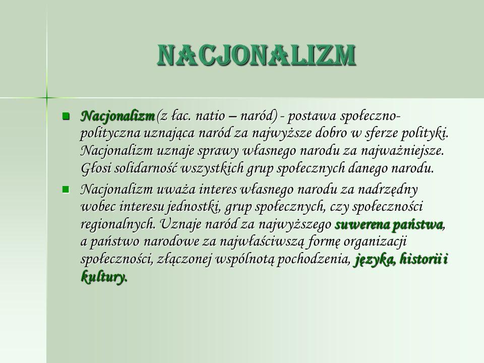Nacjonalizm Nacjonalizm (z łac. natio – naród) - postawa społeczno- polityczna uznająca naród za najwyższe dobro w sferze polityki. Nacjonalizm uznaje