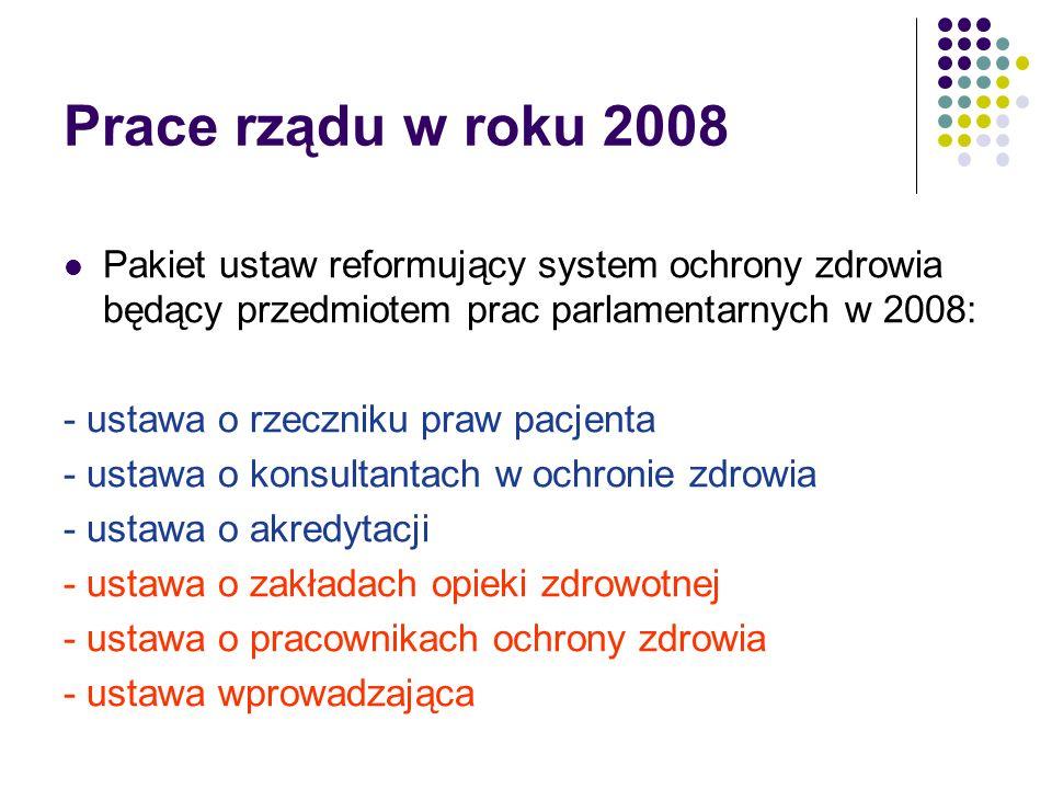 Prace rządu w roku 2008 Pakiet ustaw reformujący system ochrony zdrowia będący przedmiotem prac parlamentarnych w 2008: - ustawa o rzeczniku praw pacjenta - ustawa o konsultantach w ochronie zdrowia - ustawa o akredytacji - ustawa o zakładach opieki zdrowotnej - ustawa o pracownikach ochrony zdrowia - ustawa wprowadzająca
