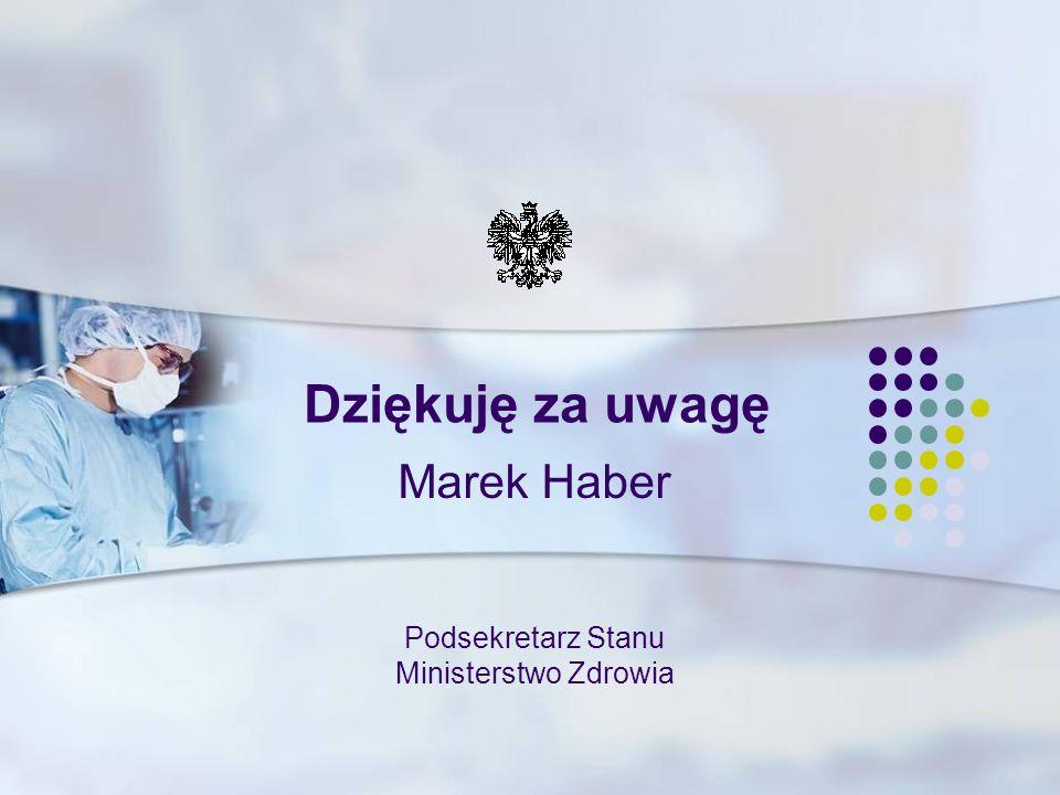 Podsekretarz Stanu Ministerstwo Zdrowia Marek Haber Dziękuję za uwagę