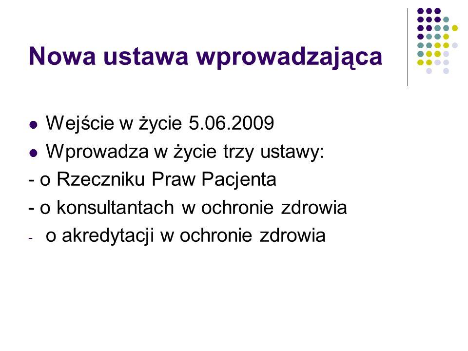 Nowa ustawa wprowadzająca Wejście w życie 5.06.2009 Wprowadza w życie trzy ustawy: - o Rzeczniku Praw Pacjenta - o konsultantach w ochronie zdrowia - o akredytacji w ochronie zdrowia