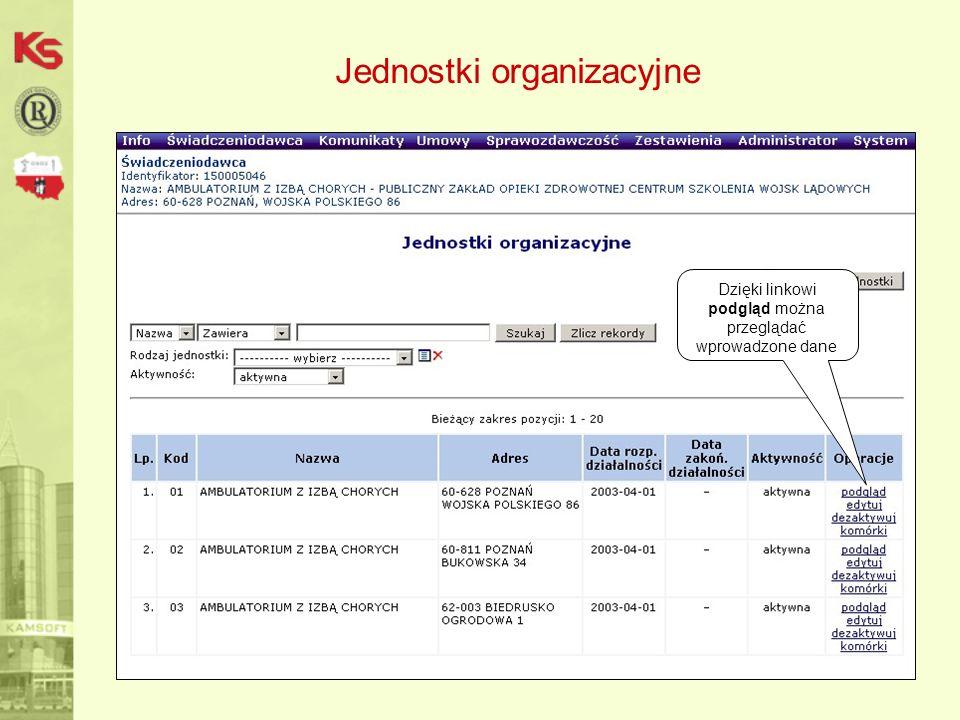 Jednostki organizacyjne Dzięki linkowi podgląd można przeglądać wprowadzone dane