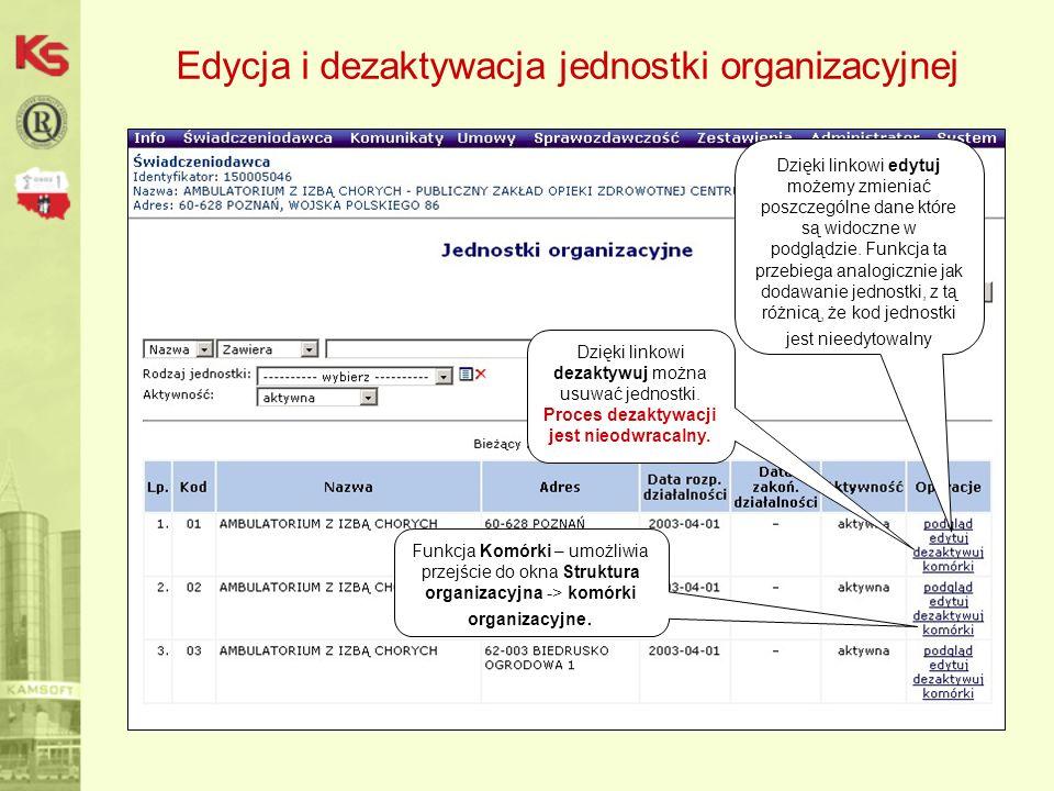 Edycja i dezaktywacja jednostki organizacyjnej Dzięki linkowi edytuj możemy zmieniać poszczególne dane które są widoczne w podglądzie. Funkcja ta prze