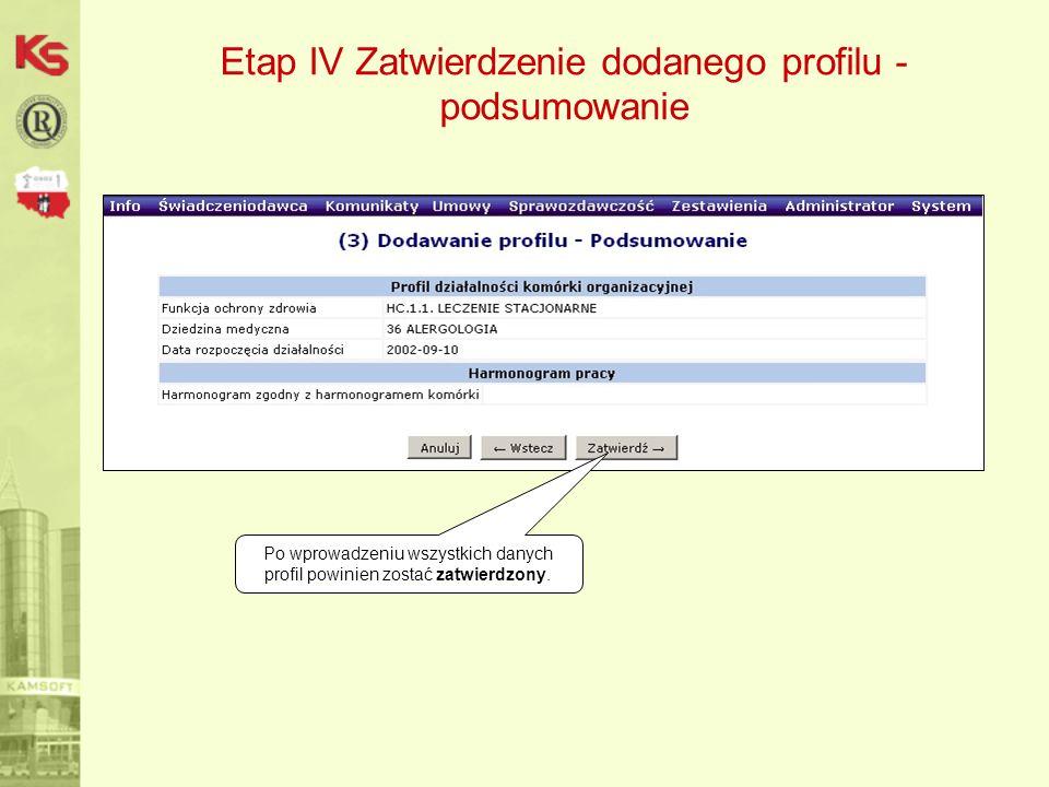 Etap IV Zatwierdzenie dodanego profilu - podsumowanie Po wprowadzeniu wszystkich danych profil powinien zostać zatwierdzony.