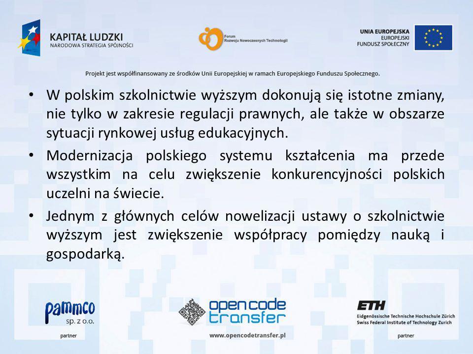 W polskim szkolnictwie wyższym dokonują się istotne zmiany, nie tylko w zakresie regulacji prawnych, ale także w obszarze sytuacji rynkowej usług edukacyjnych.
