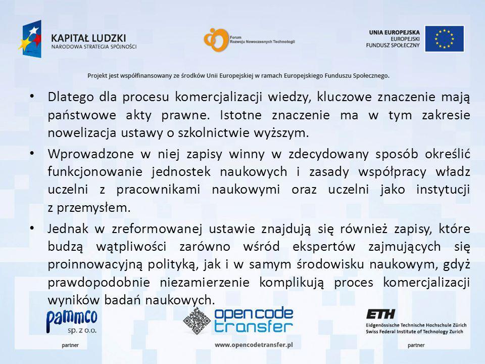 Dlatego dla procesu komercjalizacji wiedzy, kluczowe znaczenie mają państwowe akty prawne.