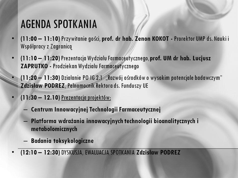 AGENDA SPOTKANIA (11:00 – 11:10) Przywitanie gości, prof.