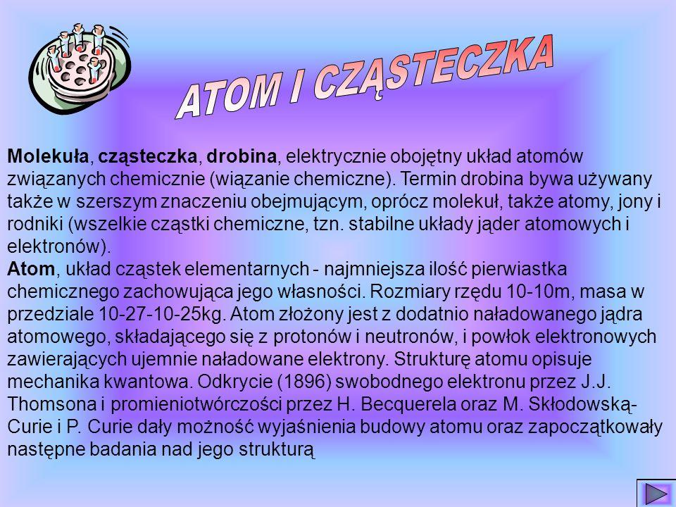 SPIS TREŚCI Co to jest atom i cząsteczka Wiek XX-wiek atomu John Dalton Atomos to znaczy niepodzielny Masy i rozmiary atomów Maria Skłodowska-Curie St
