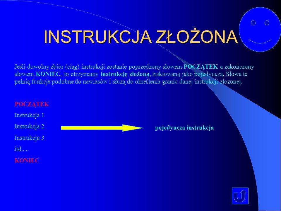 INSTRUKCJA WEJŚCIA/WYJŚCIA Instrukcje wejścia/wyjścia – służą do wprowadzania danych oraz wyprowadzania wyników. Podaj (x)Podaj (x)wprowadzanie do pro