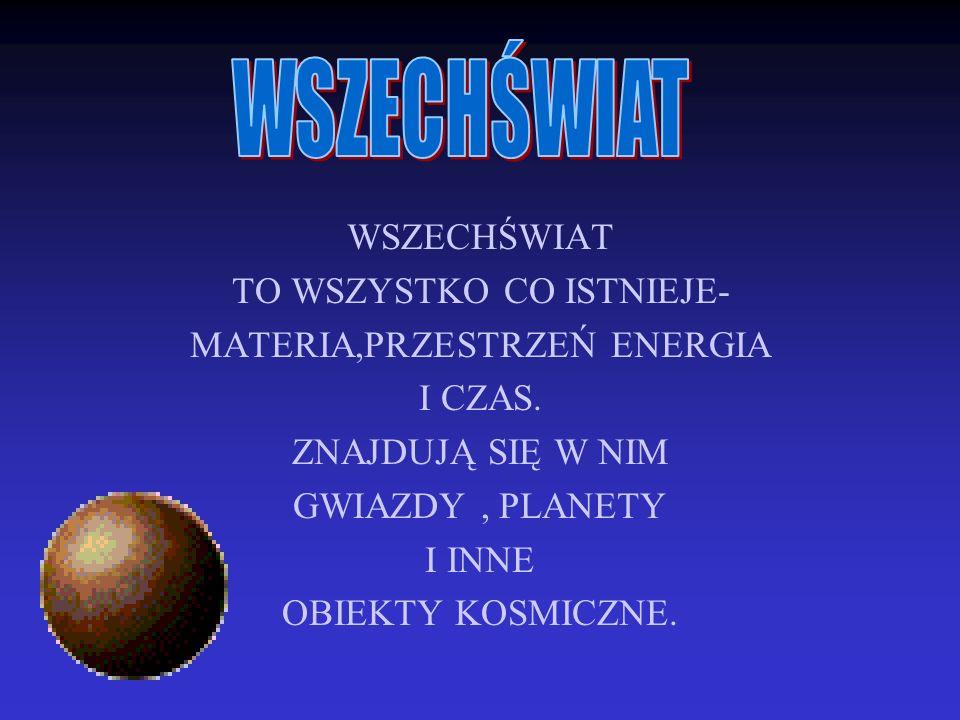WSZECHŚWIAT TO WSZYSTKO CO ISTNIEJE- MATERIA,PRZESTRZEŃ ENERGIA I CZAS. ZNAJDUJĄ SIĘ W NIM GWIAZDY, PLANETY I INNE OBIEKTY KOSMICZNE.