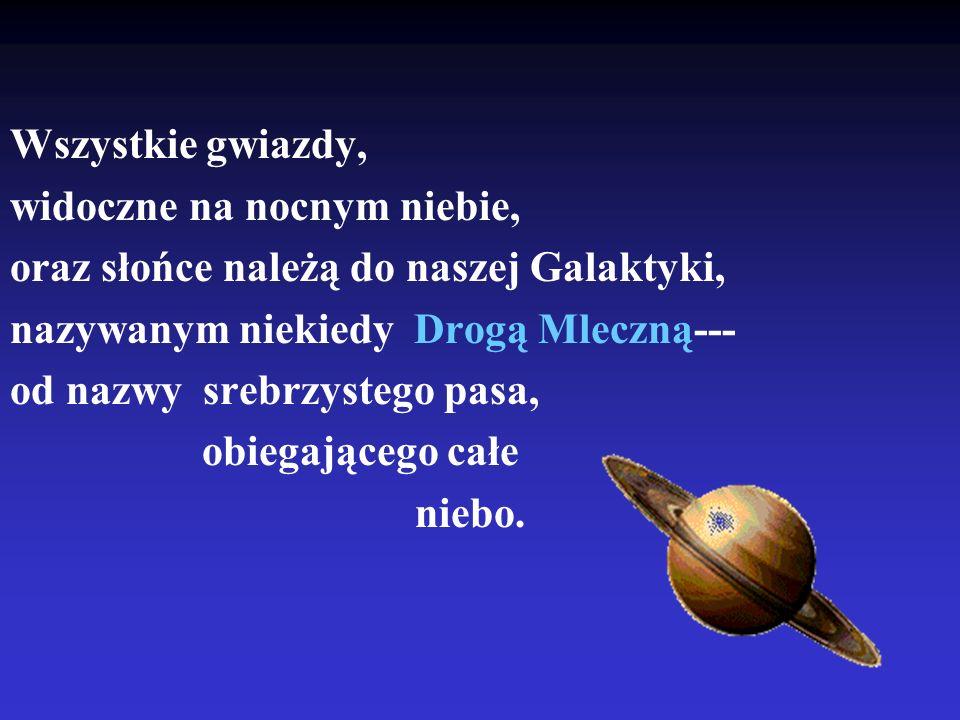 Wszystkie gwiazdy, widoczne na nocnym niebie, oraz słońce należą do naszej Galaktyki, nazywanym niekiedy Drogą Mleczną--- od nazwy srebrzystego pasa,