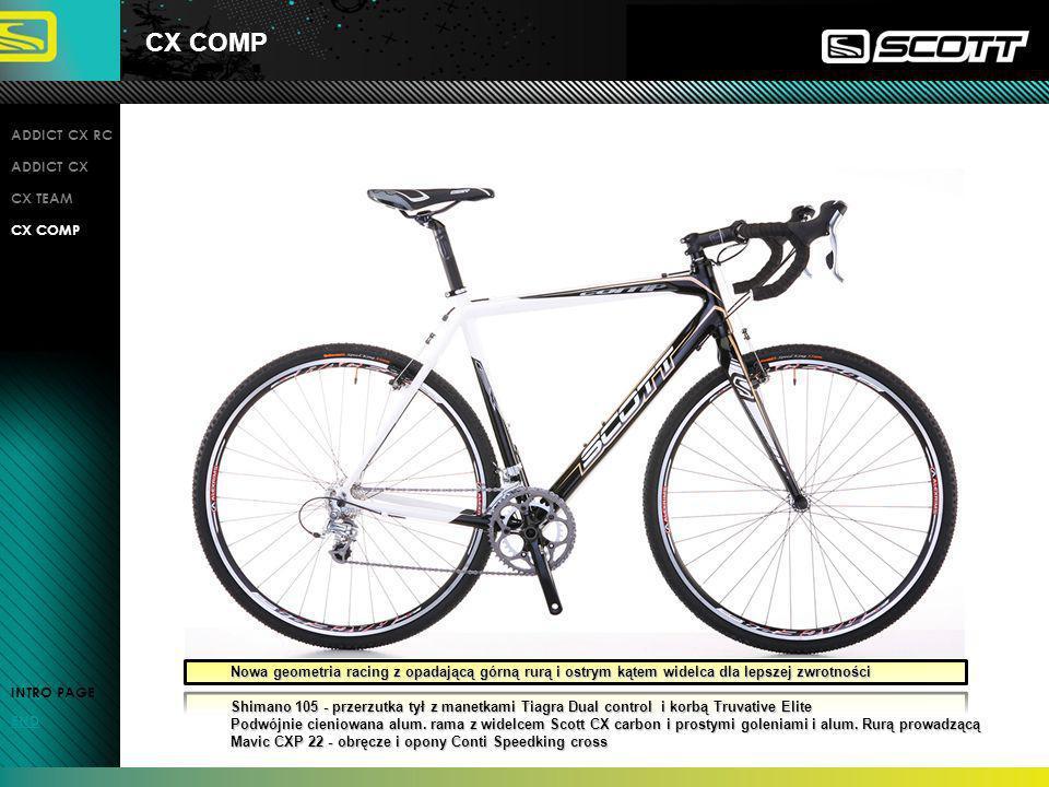 CX COMP INTRO PAGE END ADDICT CX RC ADDICT CX CX TEAM CX COMP Nowa geometria racing z opadającą górną rurą i ostrym kątem widelca dla lepszej zwrotnoś