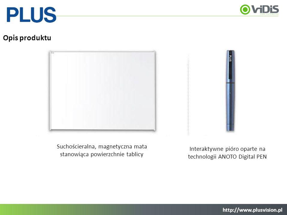 Opis produktu Suchościeralna, magnetyczna mata stanowiąca powierzchnie tablicy Interaktywne pióro oparte na technologii ANOTO Digital PEN http://www.p