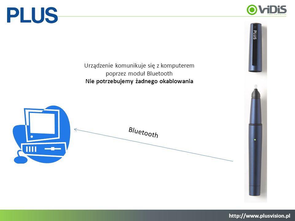 Urządzenie komunikuje się z komputerem poprzez moduł Bluetooth Nie potrzebujemy żadnego okablowania Bluetooth http://www.plusvision.pl