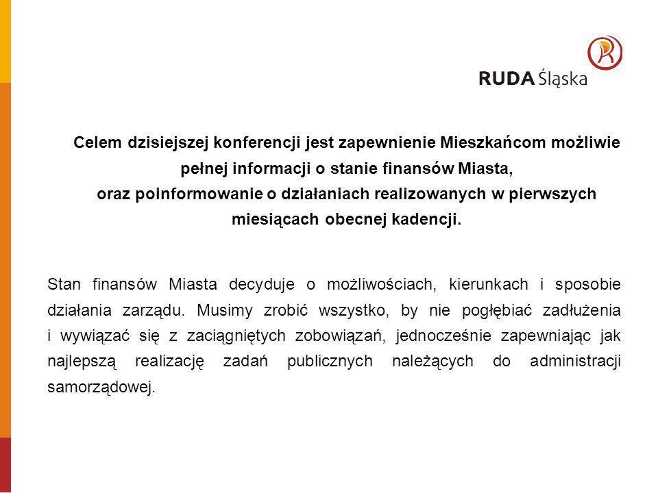 Celem dzisiejszej konferencji jest zapewnienie Mieszkańcom możliwie pełnej informacji o stanie finansów Miasta, oraz poinformowanie o działaniach realizowanych w pierwszych miesiącach obecnej kadencji.
