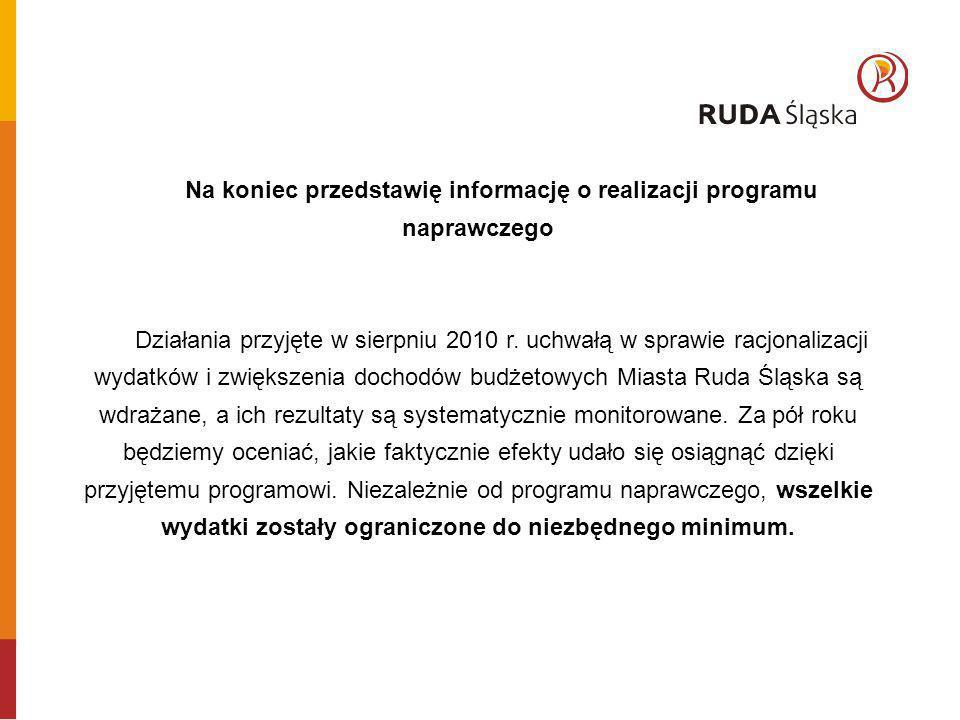 Na koniec przedstawię informację o realizacji programu naprawczego Działania przyjęte w sierpniu 2010 r. uchwałą w sprawie racjonalizacji wydatków i z