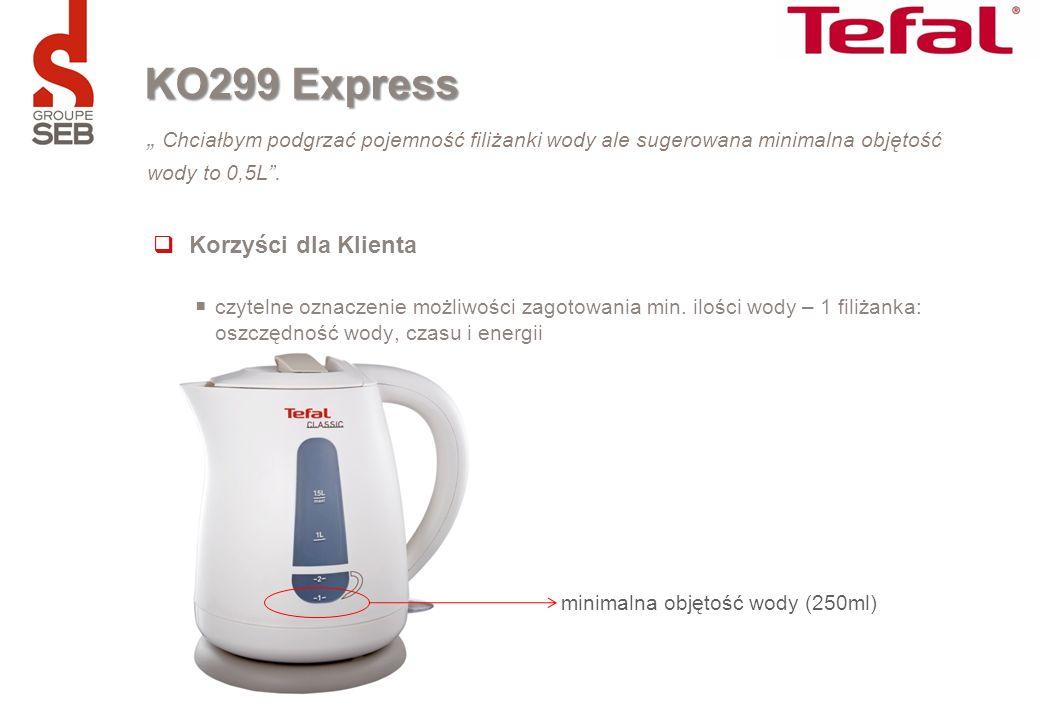 minimalna objętość wody (250ml) Chciałbym podgrzać pojemność filiżanki wody ale sugerowana minimalna objętość wody to 0,5L. KO299 Express Korzyści dla