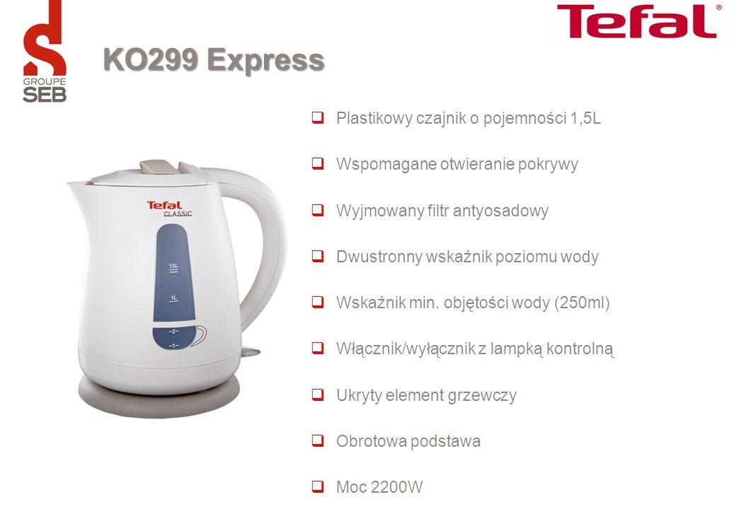 KO299 Express Plastikowy czajnik o pojemności 1,5L Wspomagane otwieranie pokrywy Wyjmowany filtr antyosadowy Dwustronny wskaźnik poziomu wody Wskaźnik
