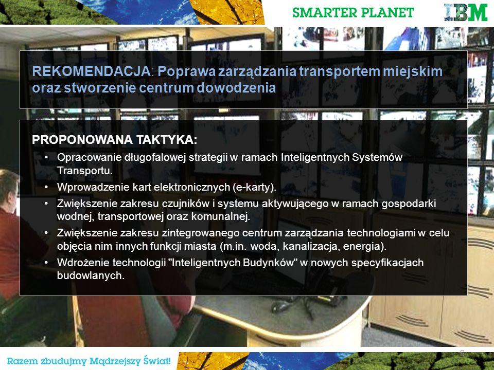9 REKOMENDACJA: Poprawa zarządzania transportem miejskim oraz stworzenie centrum dowodzenia PROPONOWANA TAKTYKA: Opracowanie długofalowej strategii w ramach Inteligentnych Systemów Transportu.