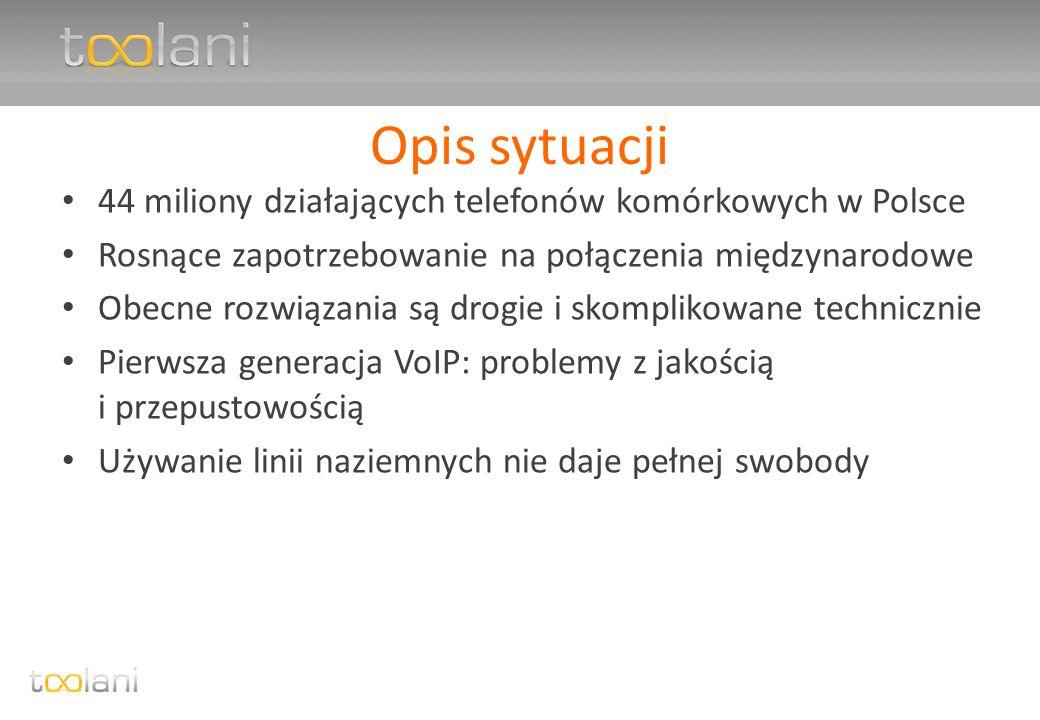 Opis sytuacji 44 miliony działających telefonów komórkowych w Polsce Rosnące zapotrzebowanie na połączenia międzynarodowe Obecne rozwiązania są drogie i skomplikowane technicznie Pierwsza generacja VoIP: problemy z jakością i przepustowością Używanie linii naziemnych nie daje pełnej swobody