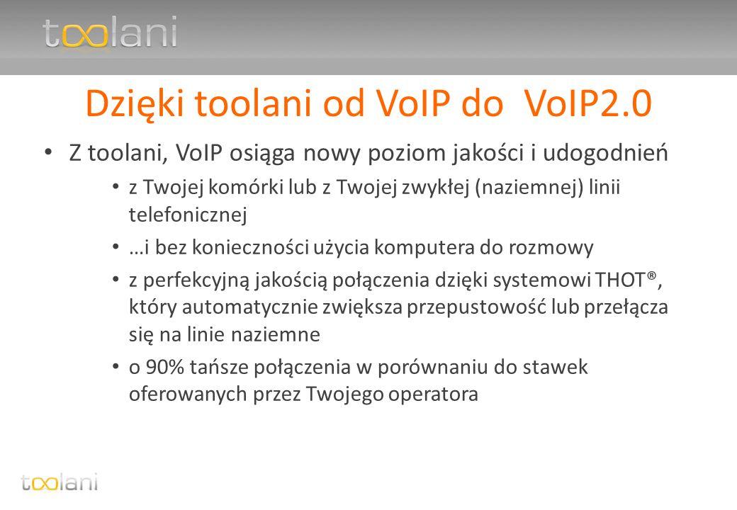 toolani – unikalna technologia Toolani Hybrid Optimization Technology (THOT®) po raz pierwszy VoIP gwarantuje najwyższą jakość przez cały czas trwania połączenia każda sekunda połączenia jest automatycznie monitorowana i w razie obniżenia jakości poniżej zdefiniowanego poziomu system przełącza się na wyższą przepustowość lub inną dostępna linię naziemną, niezauważalnie dla użytkownika pozwala na identyfikację osoby dzwoniącej