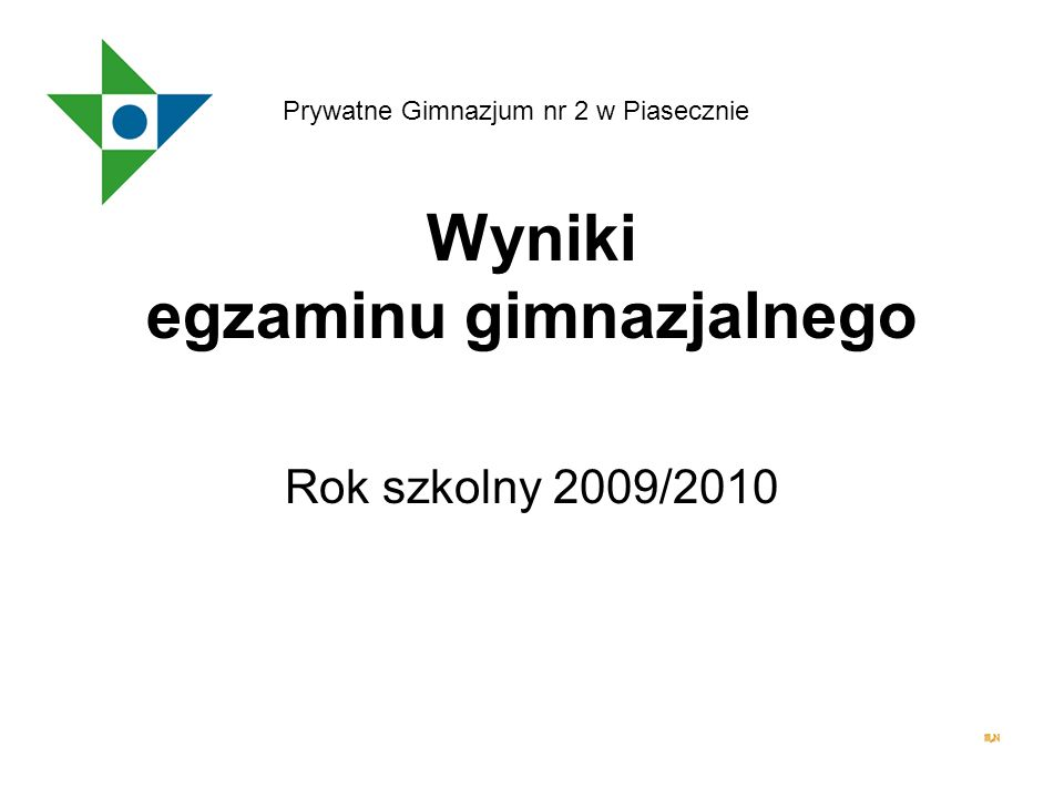 Wyniki egzaminu gimnazjalnego Rok szkolny 2009/2010 Prywatne Gimnazjum nr 2 w Piasecznie