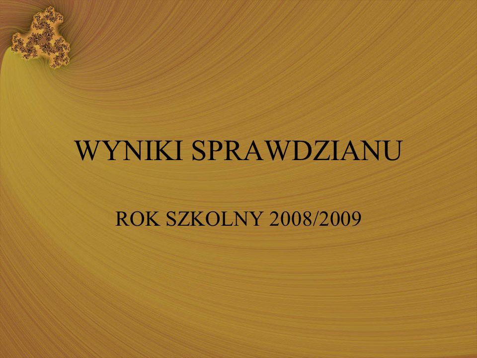 WYNIKI SPRAWDZIANU ROK SZKOLNY 2008/2009