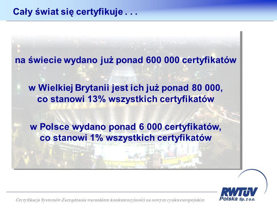 Cały świat się certyfikuje... na świecie wydano już ponad 600 000 certyfikatów w Wielkiej Brytanii jest ich już ponad 80 000, co stanowi 13% wszystkic