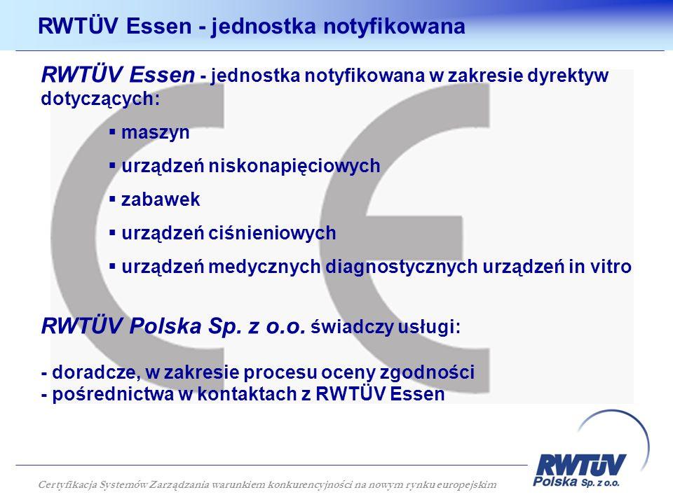 RWTÜV Essen - jednostka notyfikowana w zakresie dyrektyw dotyczących: maszyn urządzeń niskonapięciowych zabawek urządzeń ciśnieniowych urządzeń medycznych diagnostycznych urządzeń in vitro RWTÜV Polska Sp.
