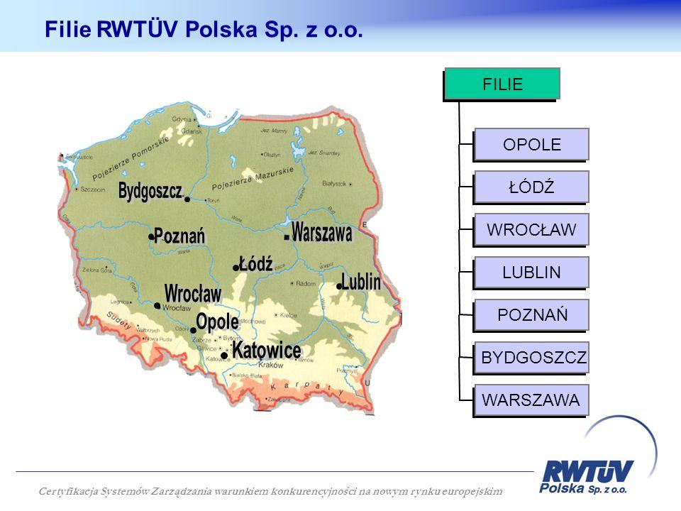 OPOLE ŁÓDŹ WROCŁAW LUBLIN POZNAŃ BYDGOSZCZ WARSZAWA FILIE Filie RWTÜV Polska Sp.