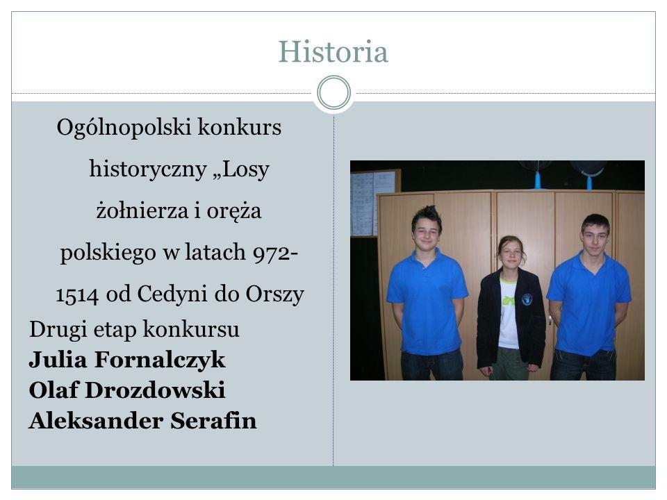 Historia Ogólnopolski konkurs historyczny Losy żołnierza i oręża polskiego w latach 972- 1514 od Cedyni do Orszy Drugi etap konkursu Julia Fornalczyk