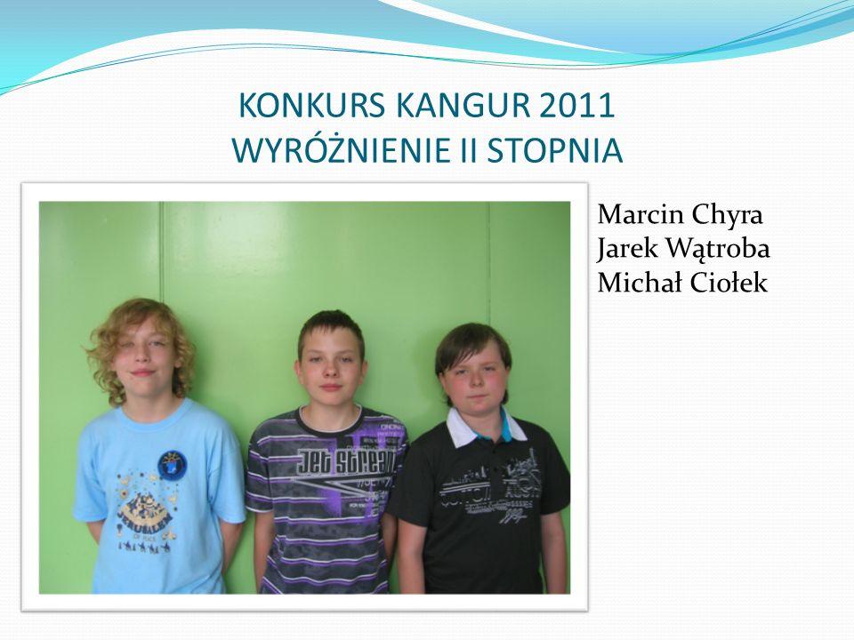 KONKURS KANGUR 2011 WYRÓŻNIENIE II STOPNIA Marcin Chyra Jarek Wątroba Michał Ciołek