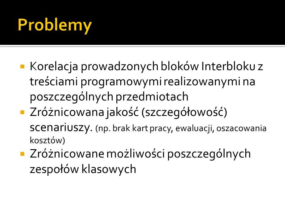 Korelacja prowadzonych bloków Interbloku z treściami programowymi realizowanymi na poszczególnych przedmiotach Zróżnicowana jakość (szczegółowość) sce