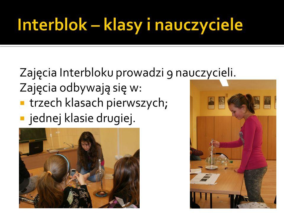 Zajęcia Interbloku prowadzi 9 nauczycieli. Zajęcia odbywają się w: trzech klasach pierwszych; jednej klasie drugiej.