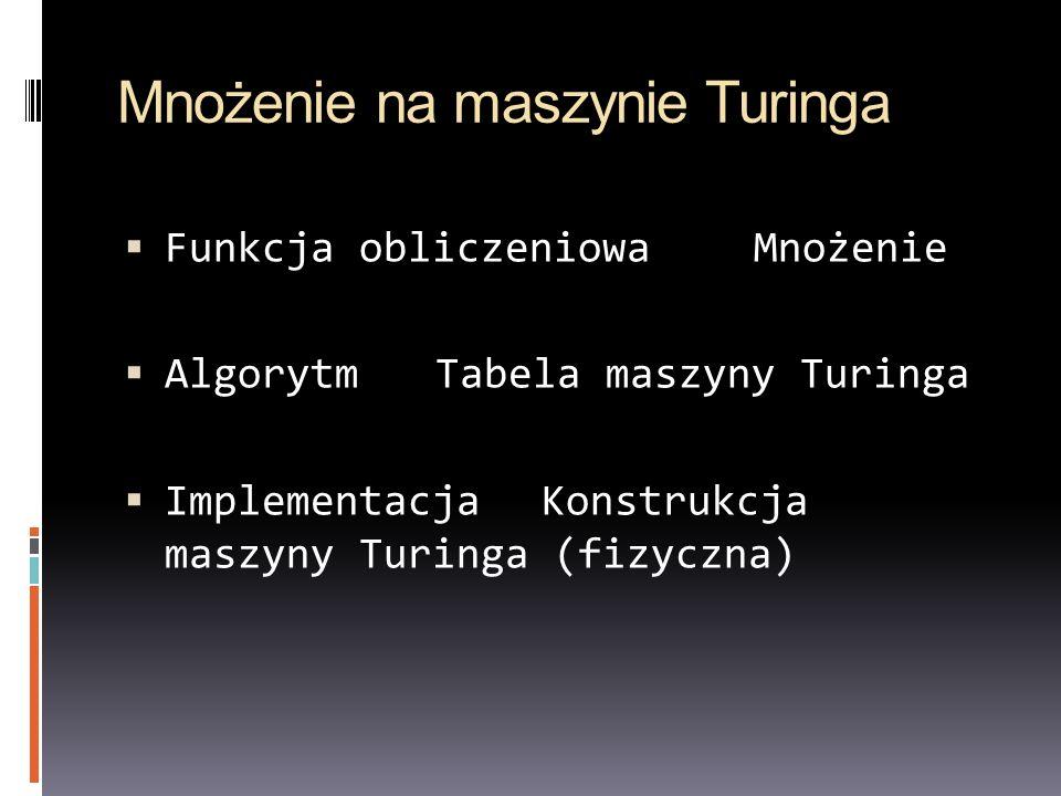 Mnożenie na maszynie Turinga Funkcja obliczeniowaMnożenie AlgorytmTabela maszyny Turinga ImplementacjaKonstrukcja maszyny Turinga (fizyczna)