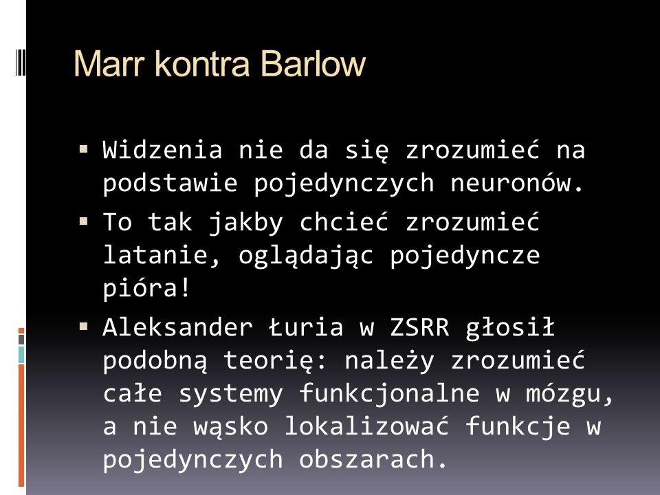 Marr kontra Barlow Widzenia nie da się zrozumieć na podstawie pojedynczych neuronów. To tak jakby chcieć zrozumieć latanie, oglądając pojedyncze pióra