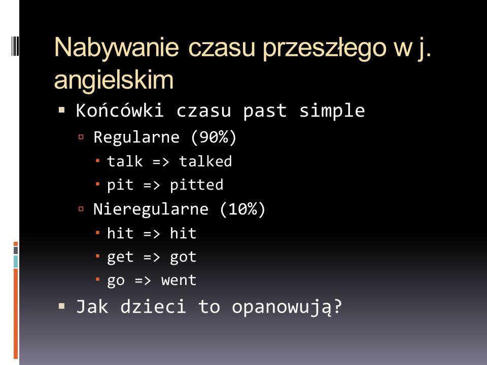 Nabywanie czasu przeszłego w j. angielskim Końcówki czasu past simple Regularne (90%) talk => talked pit => pitted Nieregularne (10%) hit => hit get =