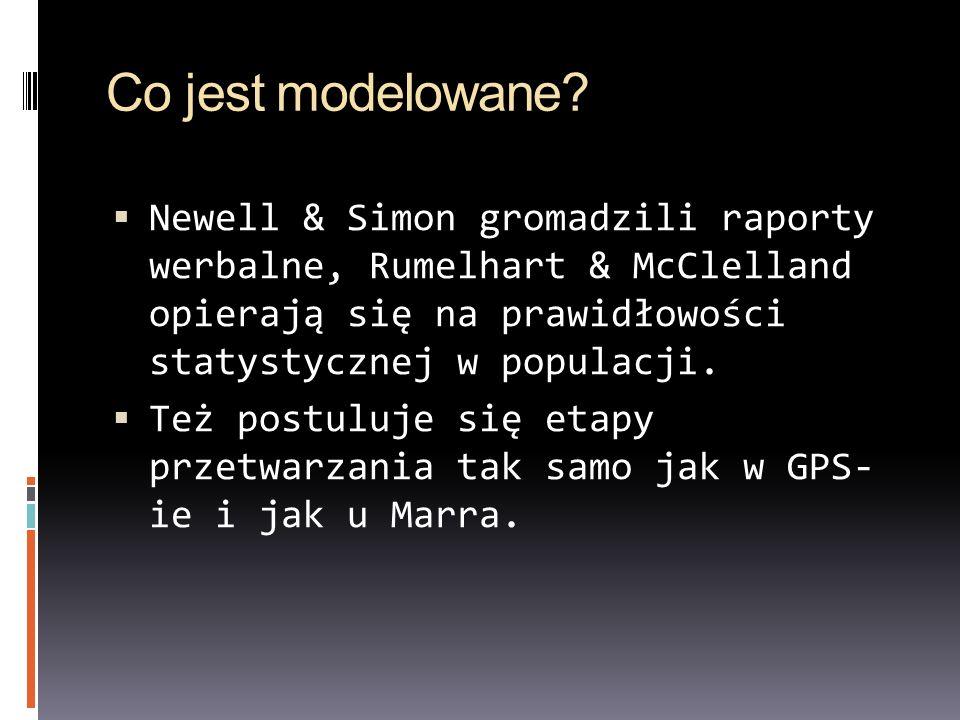 Co jest modelowane? Newell & Simon gromadzili raporty werbalne, Rumelhart & McClelland opierają się na prawidłowości statystycznej w populacji. Też po